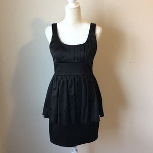 ✨Black satin peplum top bow dress. Size 9